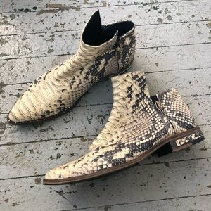 Freda Salvador Snakeskin Ankle Boots
